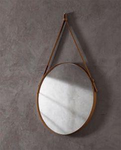 Effigies, Specchio tondo da parete, con cornice in cuoio