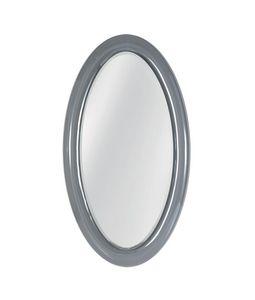 Ego specchio, Specchio ovale con cornice in vetro curvato