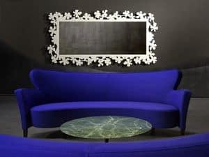 Flower specchiera, Specchio in metallo tagliato laser, varie finiture