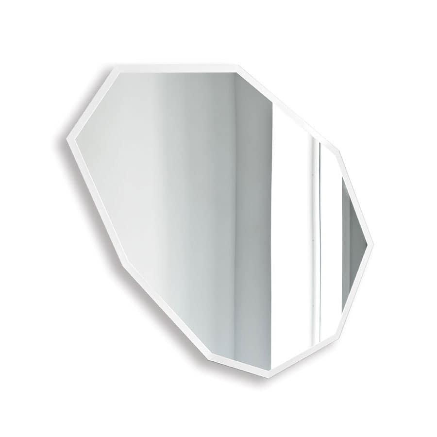 Specchi Grandi Da Parete: Specchio da parete avorio e argento moderno a forma di tao.