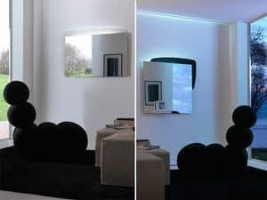 k198 visual bw, Specchio con retropannello con illuminazione LED