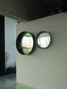 LIBE specchiera tonda, Specchio rotondo con cornice svasata e mensola