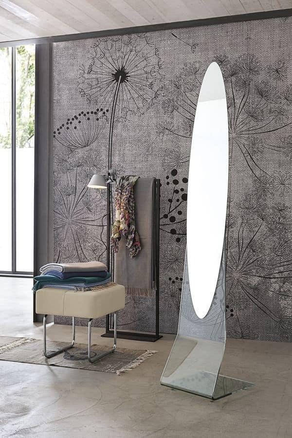 Specchiera ovale da pavimento senza cornice idfdesign - Specchio senza cornice ...