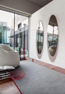 OLMI, Specchio decorativo ellittico, cornice serigrafata, soggiorno