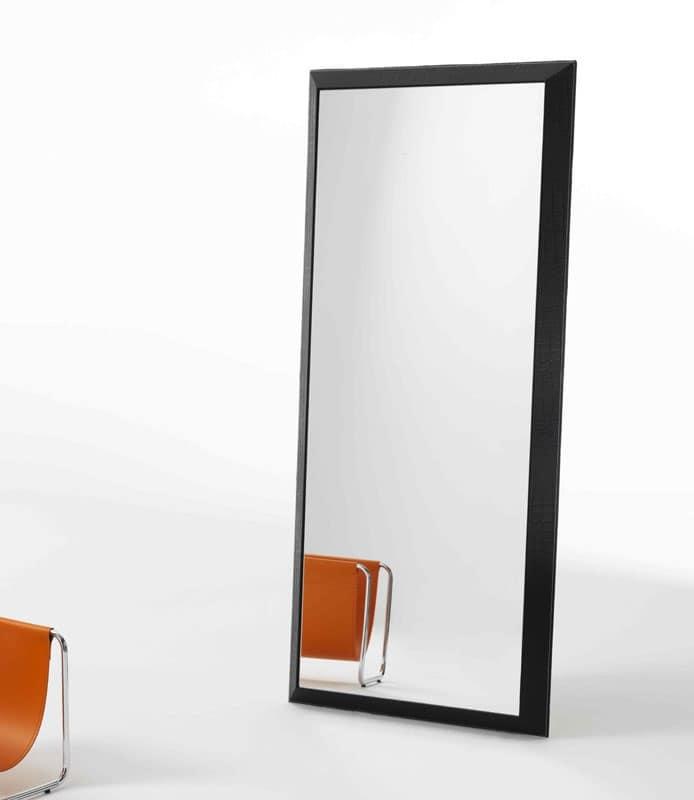 Rex R, Specchio rettangolare con cornice in cuoio stampato