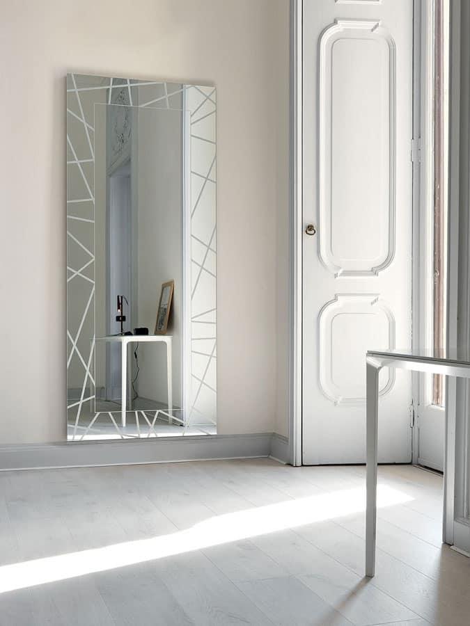 Specchio moderno rettangolare con led per ingresso for Specchio moderno per ingresso riflessi