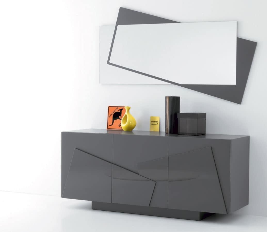 Specchio con cornice in laminato per hall di albergo for Mobili madia