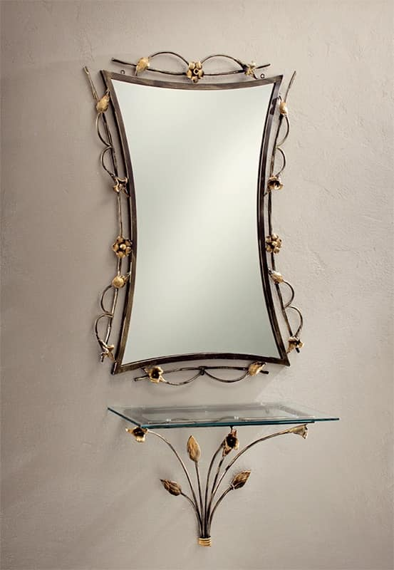 Specchio con cornice in ferro battuto e decorato idfdesign for Cornice specchio
