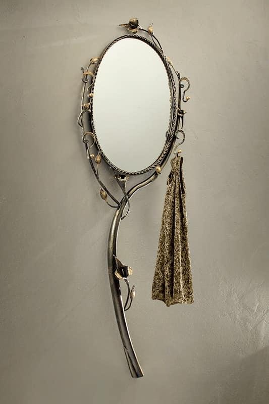 SP/320, Specchio rotondo con cornice in ferro battuto