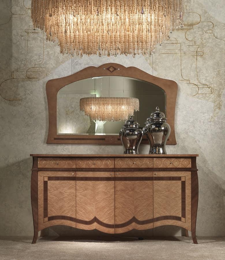 SP34 Charme specchiera, Specchiera in legno intarsiato, per alberghi e ristoranti