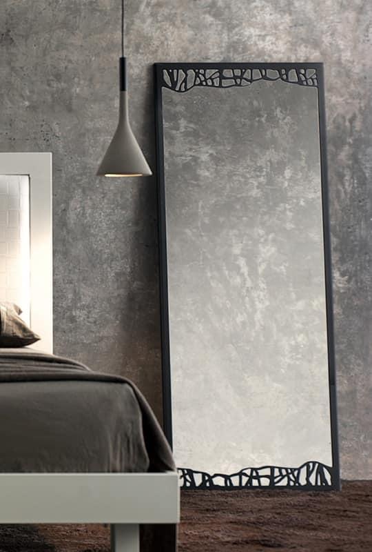 Specchio classico con cornice sottile in metallo idfdesign - Specchio cornice nera ...