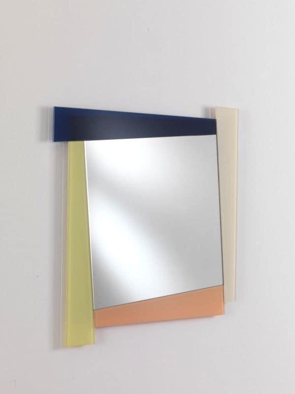 Specchio 03, Specchio quadrato con cornice colorata