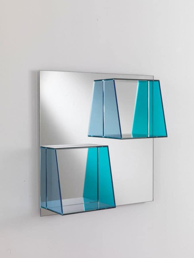 Specchio 7 specchio rettangolare con mensole ideale per for Specchi per ingrandire ambienti
