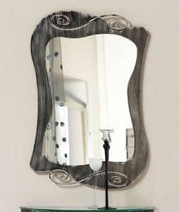 Specchio Mir�, Specchio con cornice curvilinea in ferro