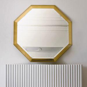 Stresa ST141, Specchio ottagonale con cornice foglia oro