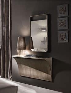 Tropea specchiera, Specchiera con cornice monoblocco in legno
