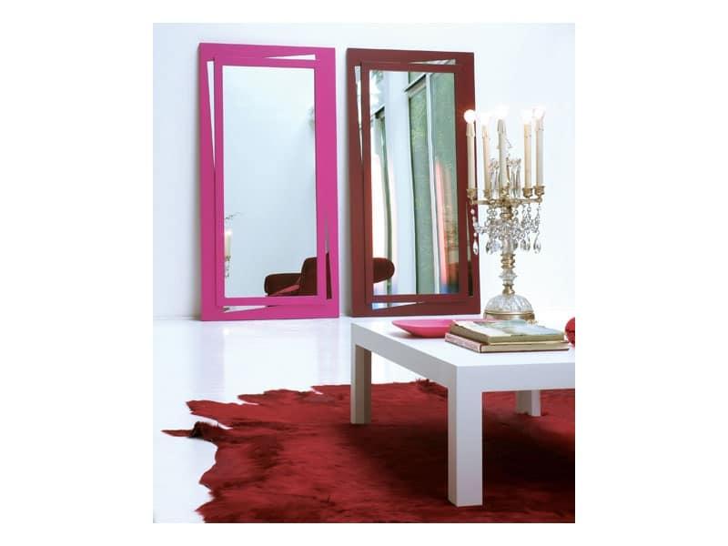 Specchio rettangolare con cornice laccata idfdesign for Amazon specchi da parete