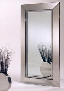 Vogue + Verit�, Specchiera bisellata in acciaio inox lucido satinato