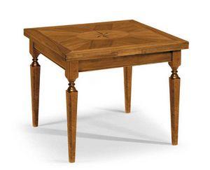 Art. 60, Tavolo in legno, con piano quadrato intarsiato