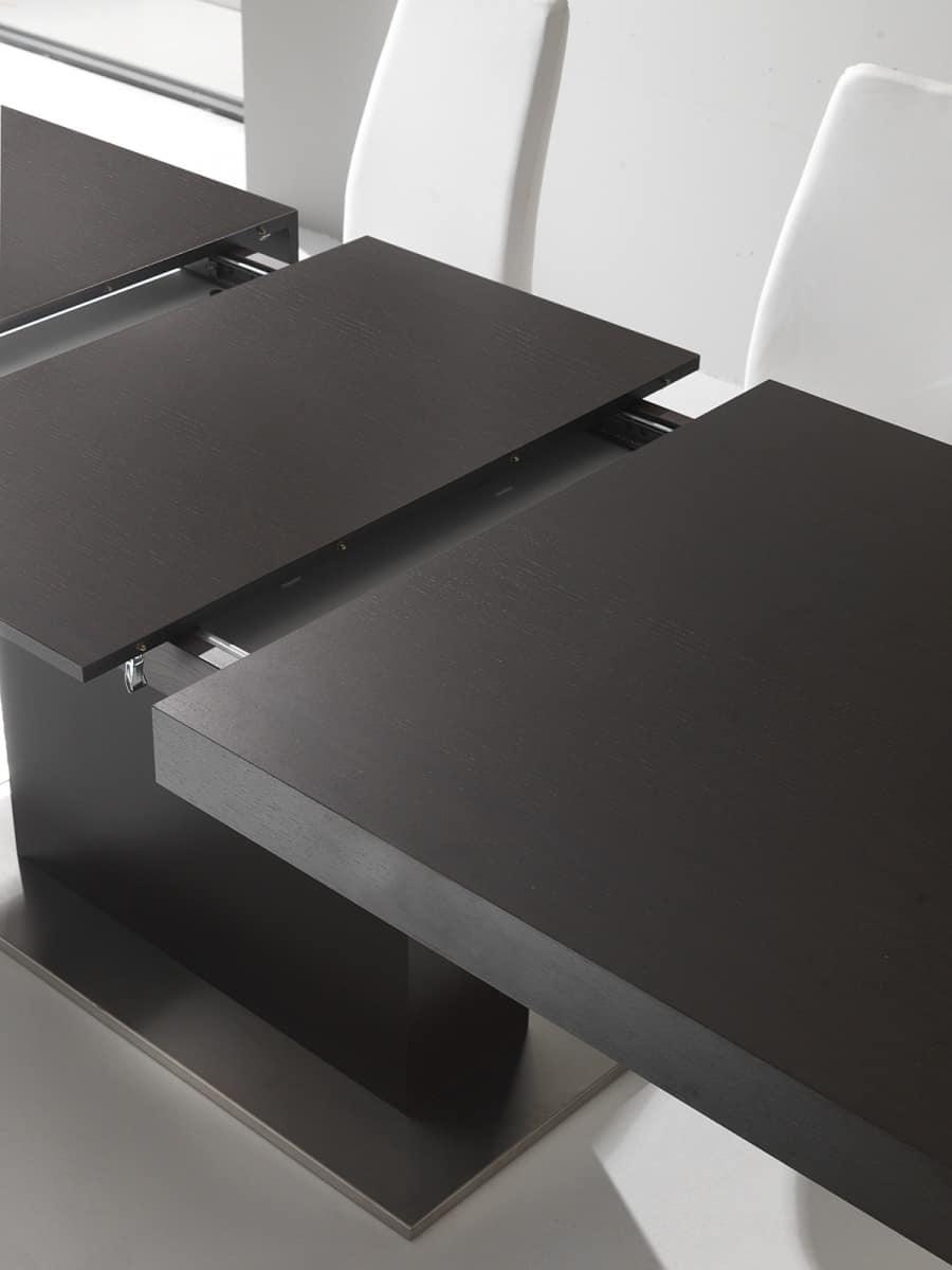 Tavolo allungabile con base a colonna idfdesign for Tavoli estensibili in legno