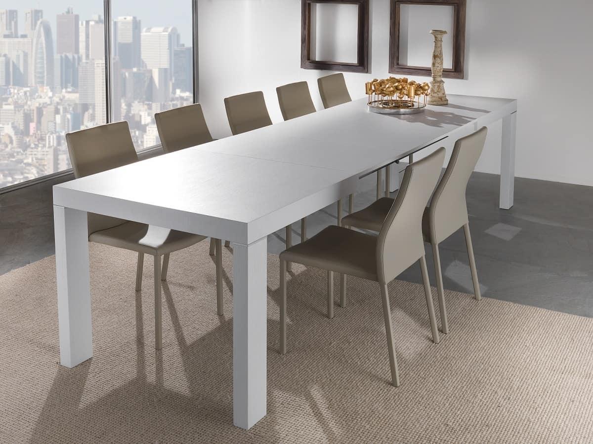 Tavolo allungabile con più allunghe, disponibile in varie finiture ...