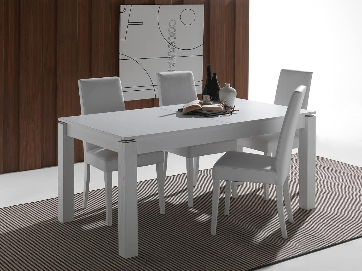 Tavolo allungabile in legno massello laccato idfdesign for Tavoli moderni in legno