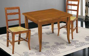 Art. 63, Tavolo in legno, con piano quadrato allungabile