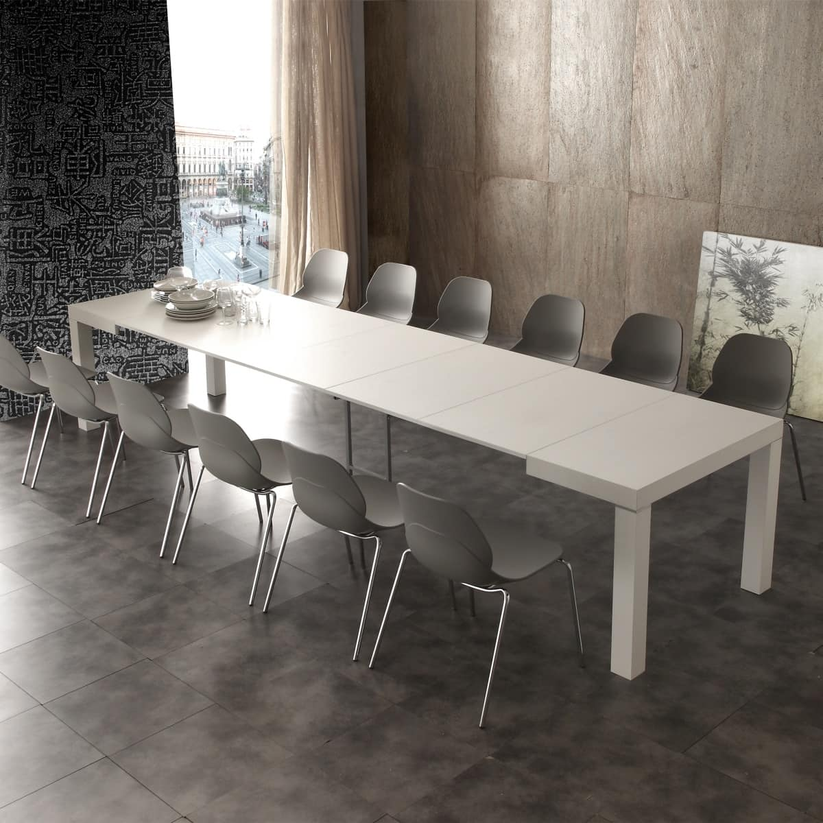 Tavolo allungabile con varie allunghe in legno idfdesign - Tavoli da sala allungabili ...