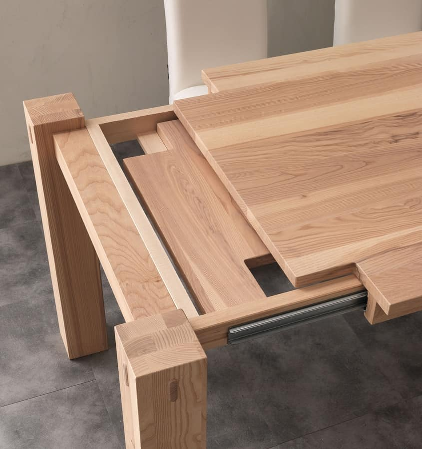 Tavolo in legno di frassino allungabile idfdesign for Tavoli estensibili in legno