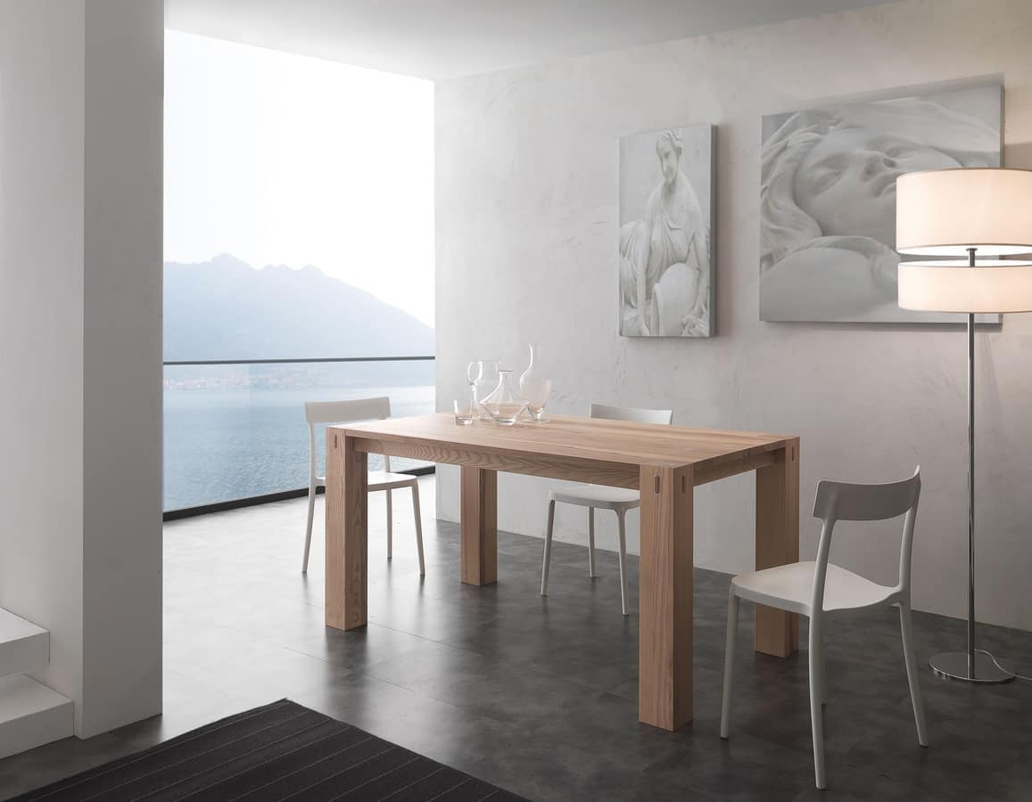 Tavolo in legno di frassino allungabile idfdesign - Tavoli pranzo allungabili design ...