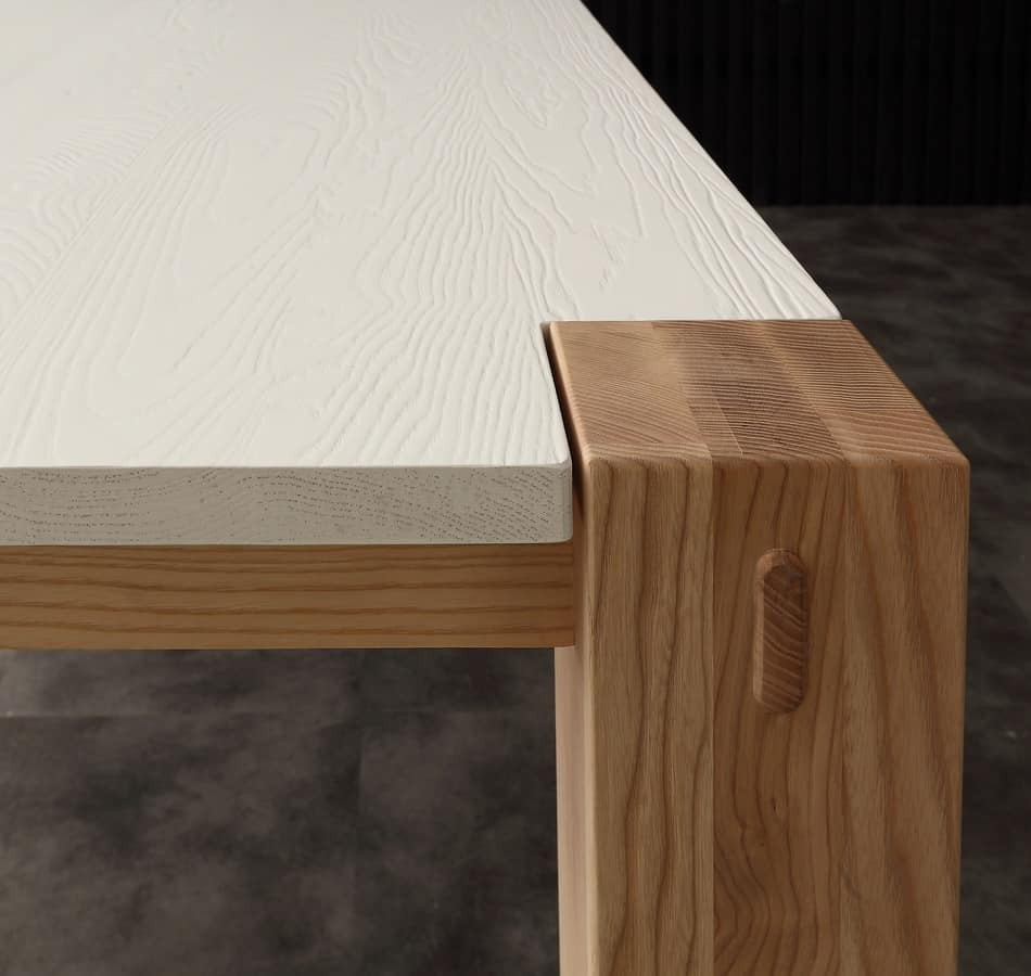 Art. 694BL Factory Bicolor, Tavolo dal design contemporaneo, in legno massello, con piano laccato