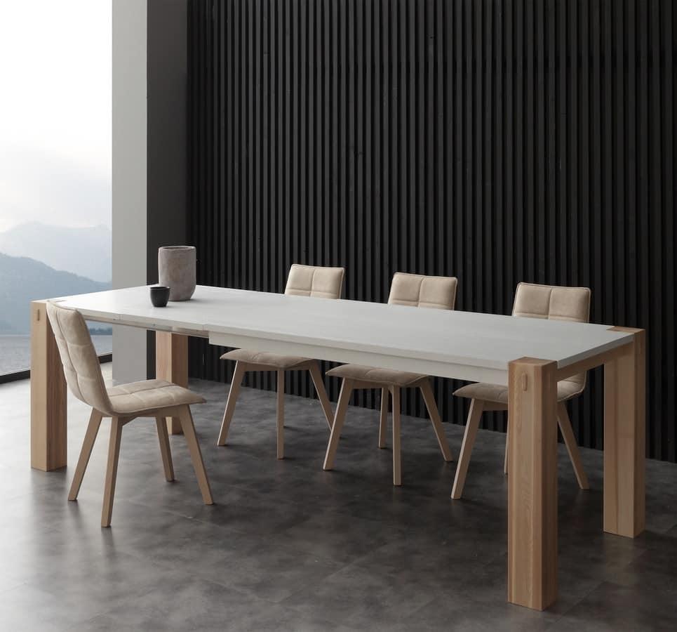 Tavolo dal design contemporaneo in legno massello con for Tavoli sala da pranzo in legno