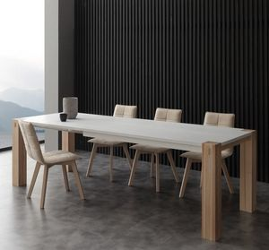 Art. 694BL Factory Bicolor, Tavolo dal design contemporaneo, in legno massello, con piano laccato