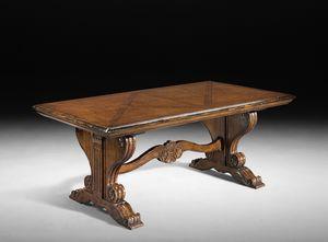 Art. 803 tavolo, Tavolo con allunghe, ripiano intarsiato