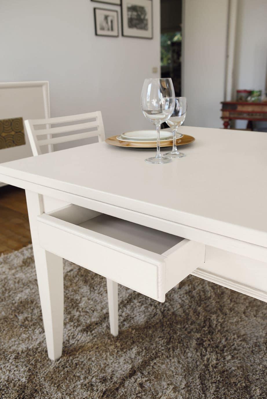 Tavolo quadrato in frassino laccato allungabile in for Tavoli contemporaneo design