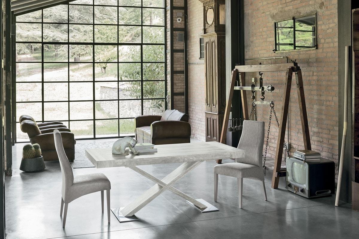 ASTERION TA194, Tavolo allungabile, struttura, piano e allunghe in laminato