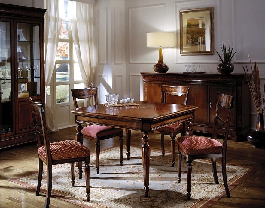Tavolo quadrato allungabile in mogano intarsiato - Tavoli da pranzo classici ...