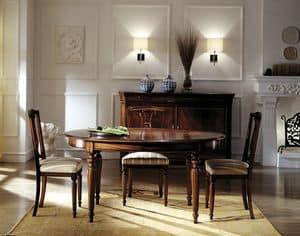 C 303, Tavolo ovale in mogano, allungabile, classico di lusso