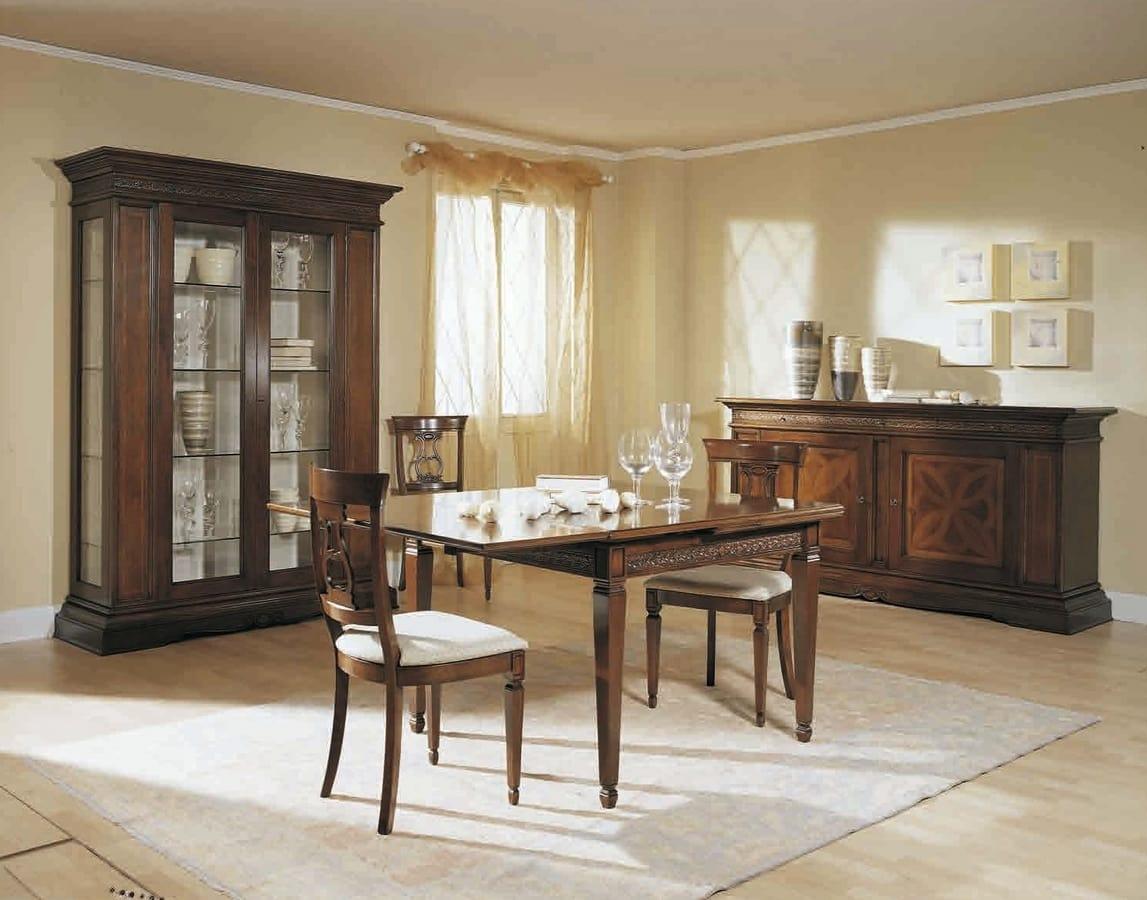 Caravaggio tavolo, Tavolo classico, con allunghe a scatto