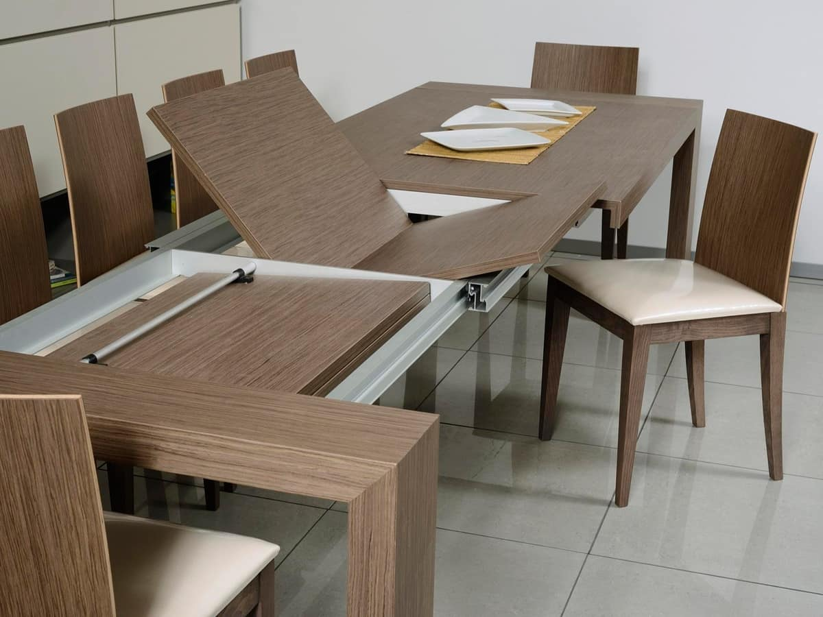 Tavolo allungabile rettangolare per sala da pranzo for Tavoli in legno allungabili