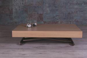 Double, Tavolino con piano in legno, regolabile e allungabile