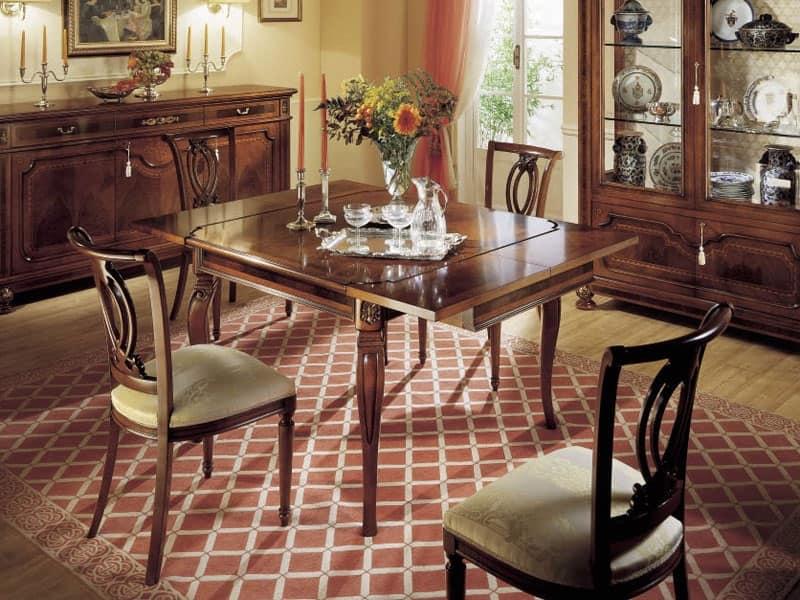 GRANDUCATO / Tavolo quadrato allungabile, Tavolo allungabile in legno, classico, rettangolare, Cucine