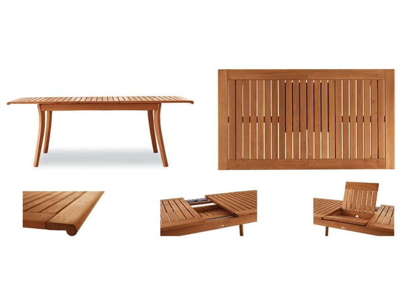 Tavolo allungabile in legno per ambienti esterni idfdesign for Tavoli allungabili legno