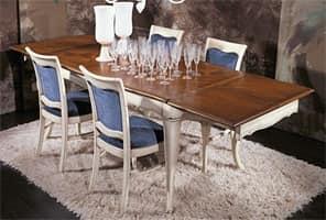 HORTENSE tavolo allungabile 8314T, Tavolo in faggio massello con piano intarsiato