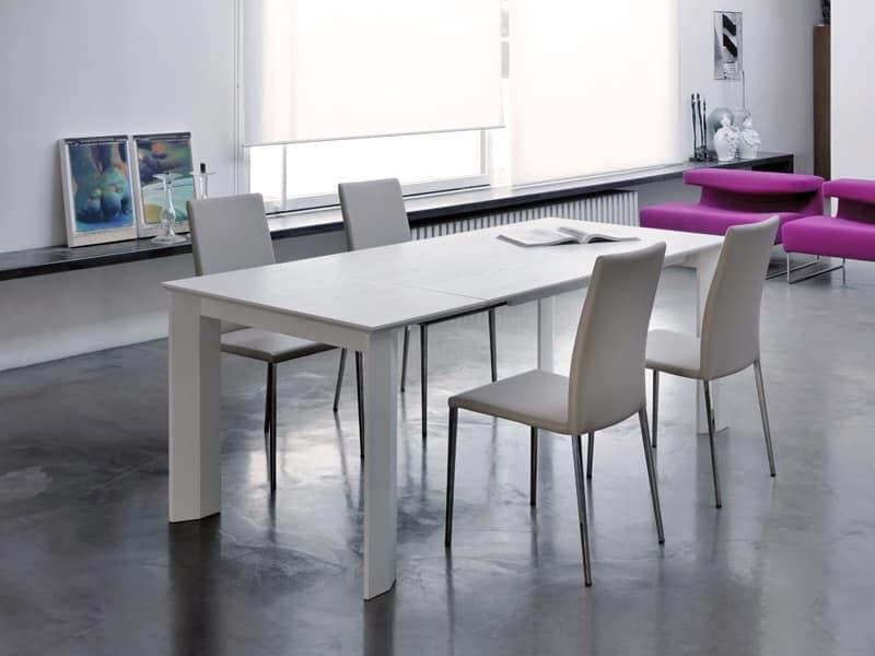 Tavolo allungabile piano in frassino funzionale e for Tavoli rettangolari allungabili in legno