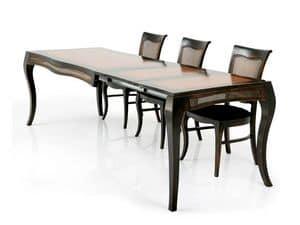 MILUNA tavolo allungabile 8338T, Tavolo allungabile in legno massello