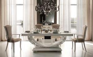 Mir� tavolo, Tavolo allungabile con base semi-ellittica, decori color perla