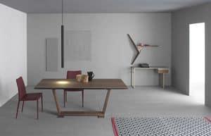Oblique Canaletto, Tavolo allungabile in legno, impiallacciato con noce