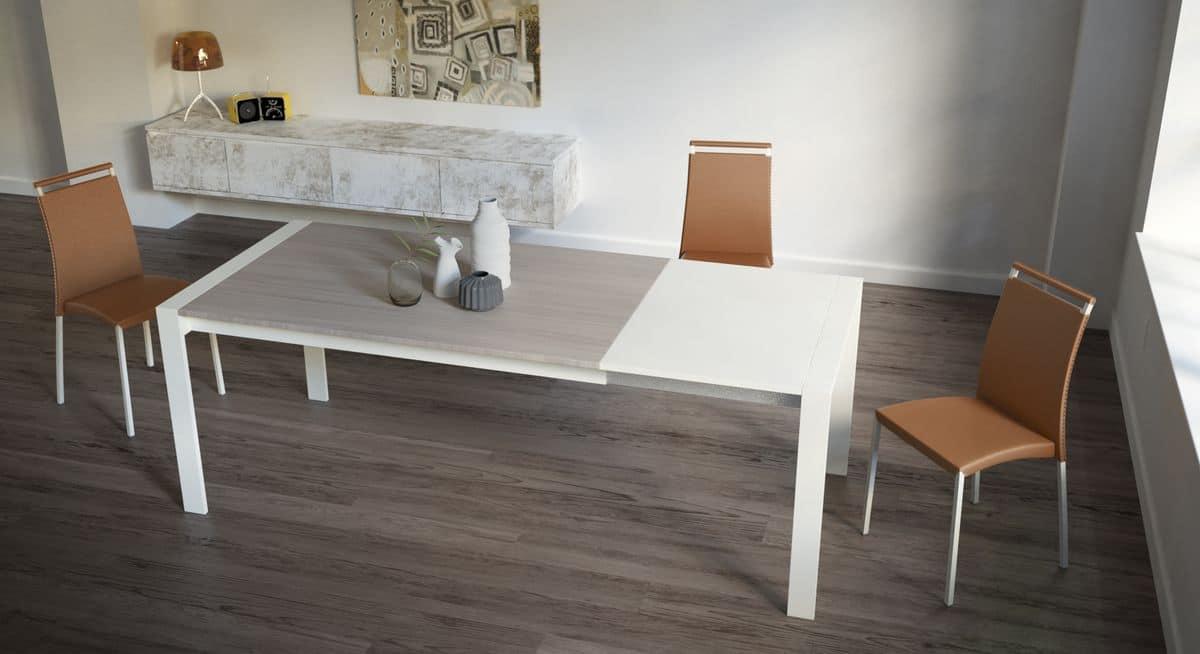 Tavolo rettangolare allungabile per cucine moderne idfdesign for Tavoli in legno allungabili