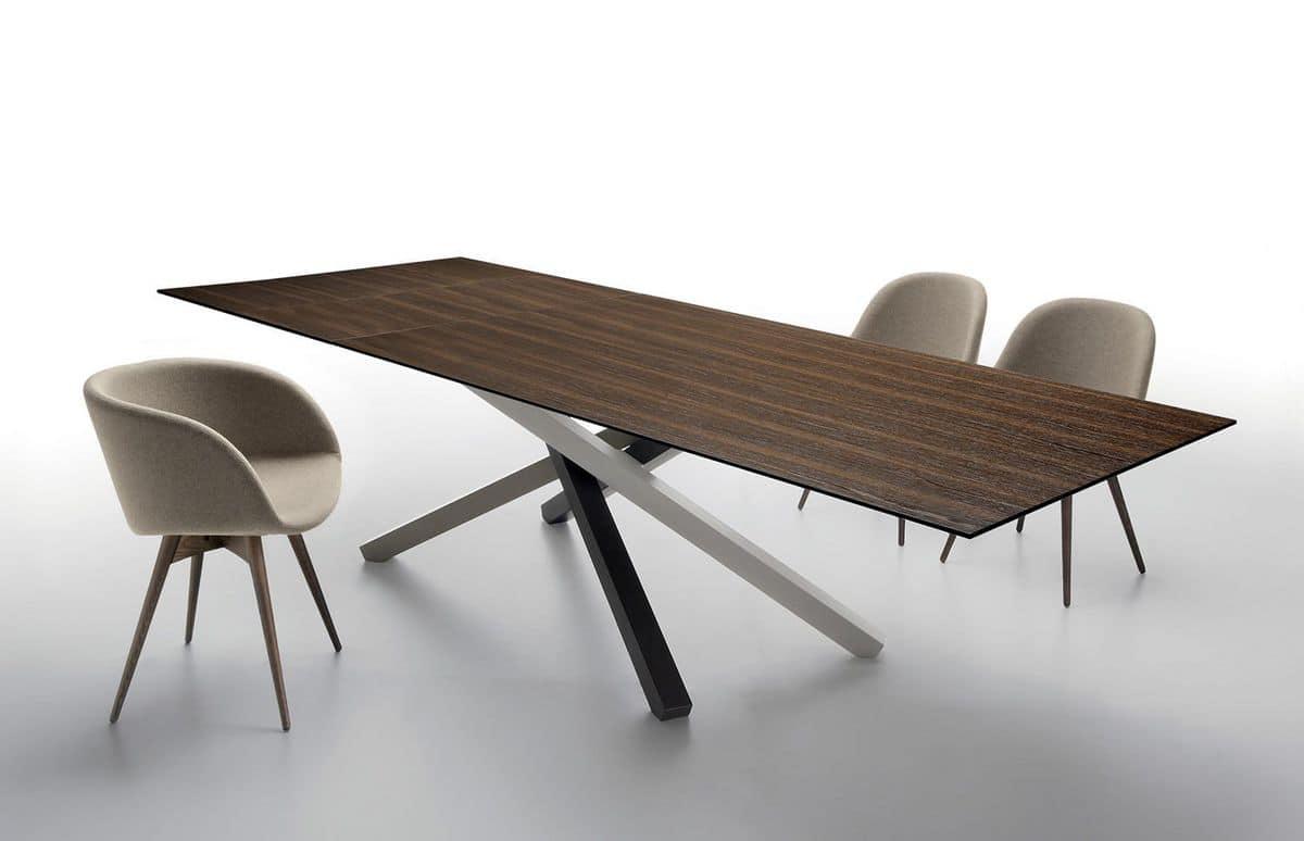Tavolo allungabile in metallo piano in legno o vetro for Tavoli allungabili legno